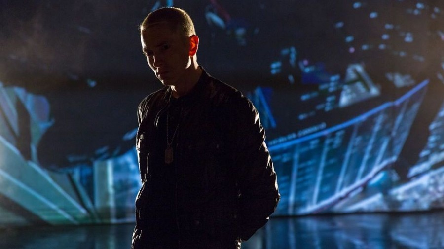 "Eminem, in a still from his video for ""Don't Front,"" a bonus track on The Marshall Mathers LP 2."