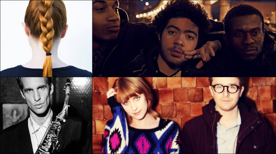 Clockwise from upper left: Holly Herndon, Ratking, Jenn Wasner and Andy Stack of Wye Oak, and John Lurie.