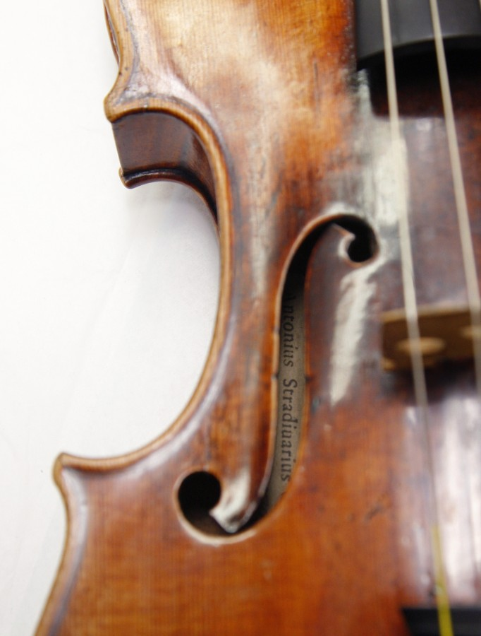 A Stradivarius violin is pictured at the restoration and research laboratory of the Musee de la Musique in Paris, in December 2009.