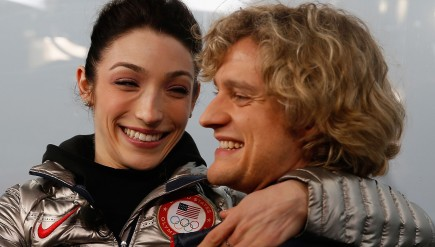 Ice dancing champions Meryl Davis and Charlie White visit the set of the NBC TODAY Show in Sochi on February 18, 2014.