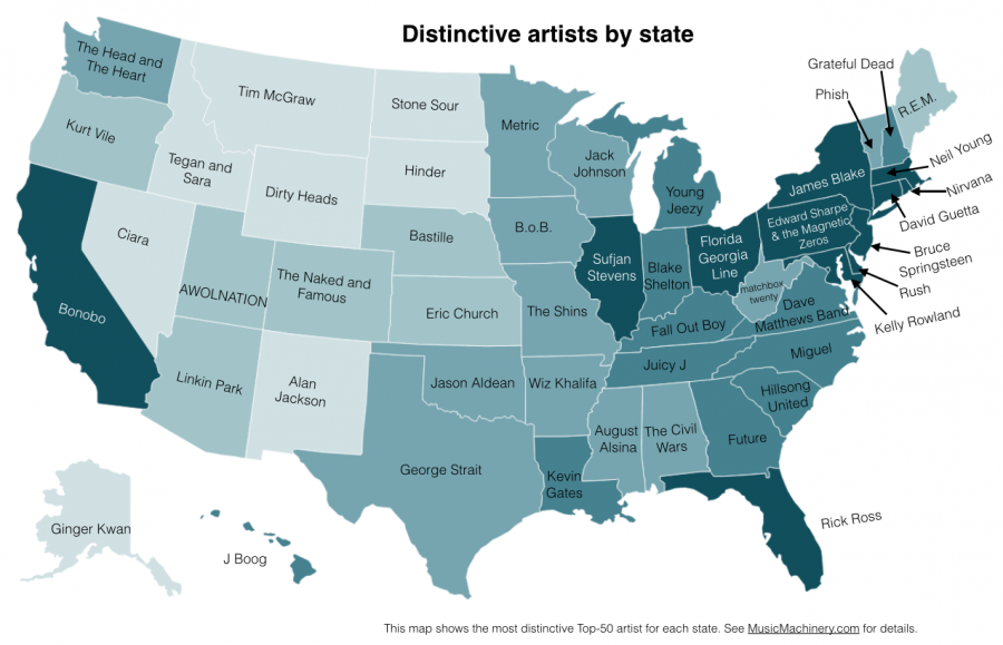 A map of the U.S. lists the musical acts that set states apart from each other. It's not a matter of an artist's popularity, says Paul Lamere, who made the map, but of a state's distinct preferences.