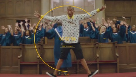 """A still from the 24-hour-long interactive video for Pharrell Williams' song """"Happy."""""""