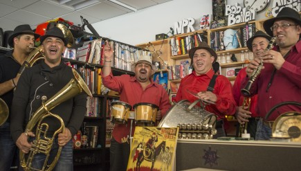 Fanfare Ciocarlia performs at a Tiny Desk Concert in January 2014.