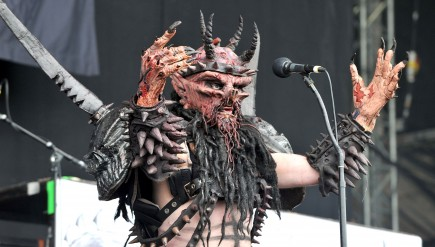 Oderus Urungus of GWAR performs on day three of the Download Festival at Donington Park on June 12, 2011 in Castle Donington, England.