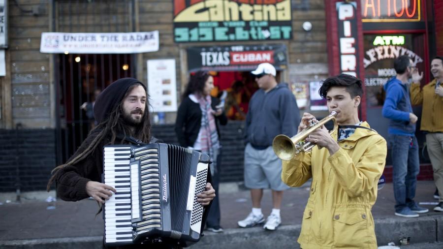 Musicians on the street in Austin, Texas on Thursday.