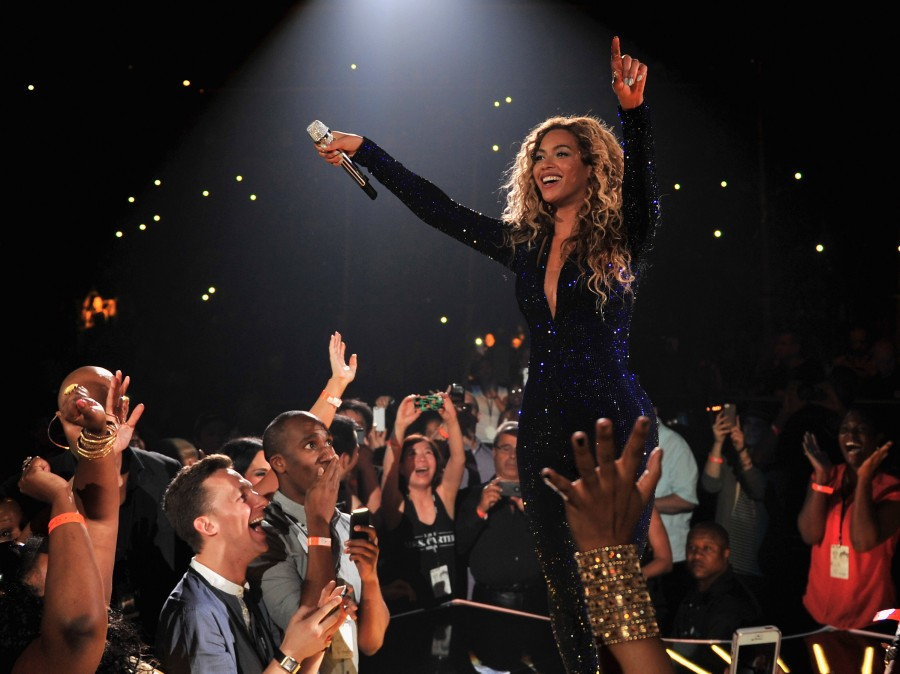 "Beyoncé on stage during ""The Mrs. Carter Show World Tour"" at the Barclays Center on August 3, 2013 in New York, New York."