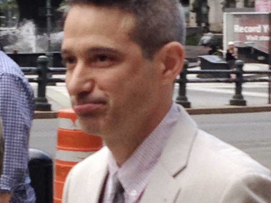 "Beastie Boys rapper Adam ""Ad-Rock"" Horovitz leaves federal court in Manhattan after testifying at the band's copyright trial."