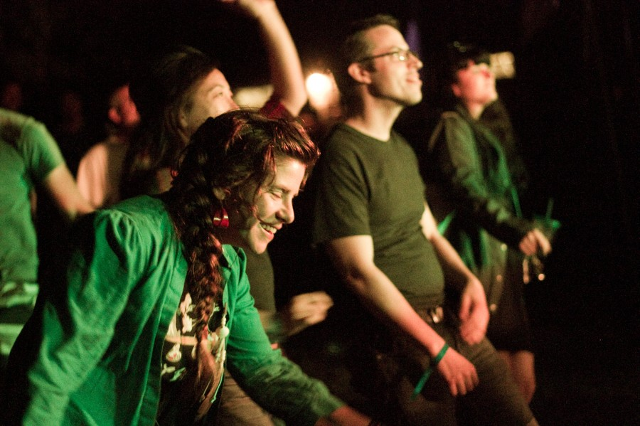 The crowd dancing during Flock of Dimes' Set at Fields Festival August 24, 2014