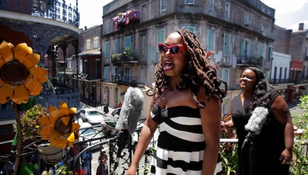 Ledisi performs on a balcony in the French Quarter in New Orleans, Louisiana, for a Field Recordings video shoot.