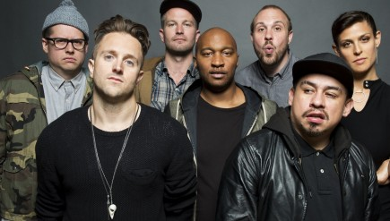 All Hands is the latest album by the collective Doomtree. Left to right: Paper Tiger, Sims, Cecil Otter, P.O.S, Lazerbeak, Mike Mictlan, Dessa.