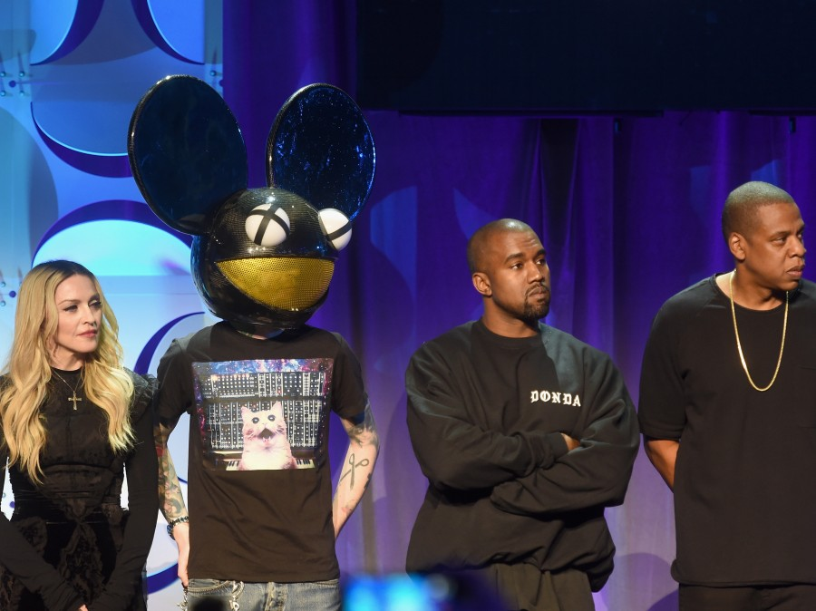 Madonna, Deadmau5, Kanye West and Jay Z onstage at the Tidal launch event.