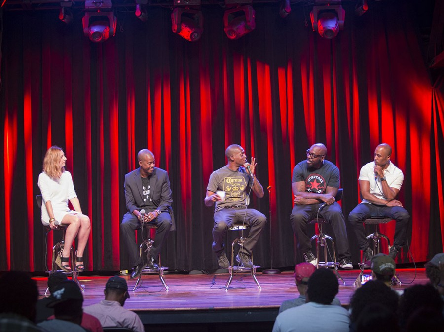 Microphone Check onstage with Organized Noize in Atlanta. From left to right: Frannie Kelley, Ray Murray, Rico Wade, Sleepy Brown and Ali Shaheed Muhammad.