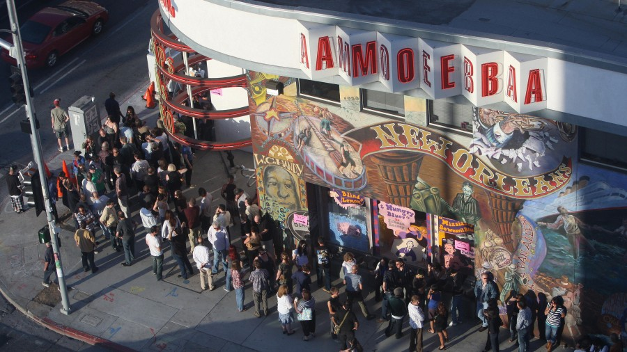 A crowd gathers at Hollywood's Amoeba Music for a free weekday concert in 2007. A new shift to Friday album releases could spell logistical trouble for independent record stores like this one.