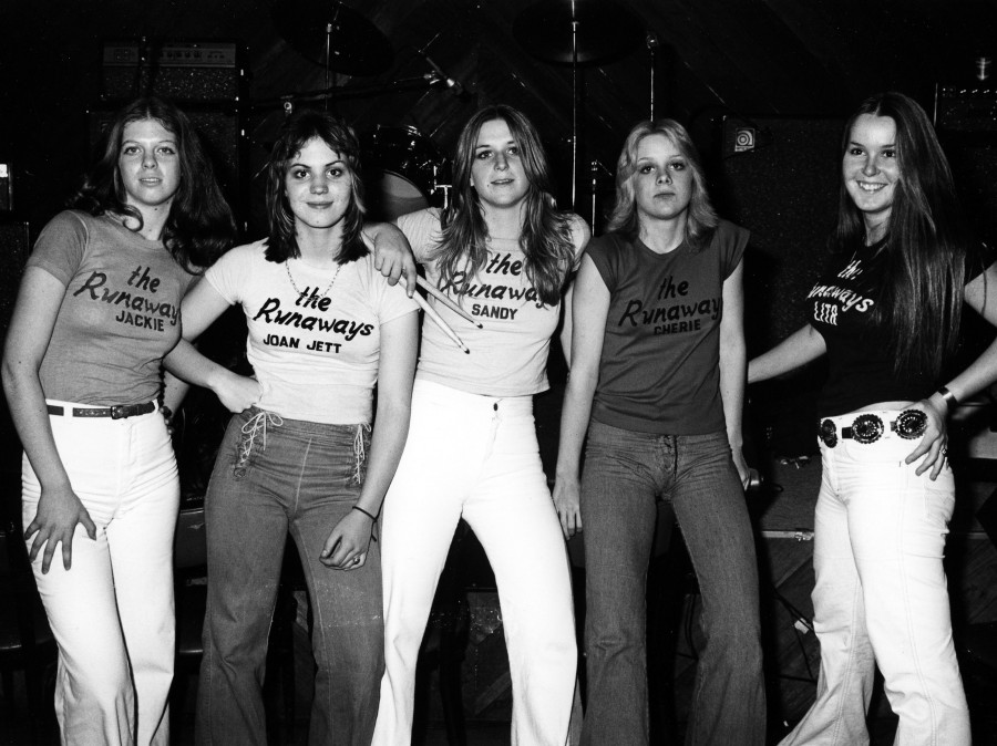 The Runaways (from left to right, Jackie Fox, Joan Jett, Sandy West, Cherie Currie and Lita Ford)  in January 1976.