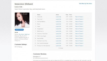 A screenshot of the now-removed page for Lucia Cole's album, Innocence, on iTunes.