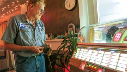 Don Muller says his favorite jukebox is his 1948 Seeburg M100A, which he keeps in the corner of his living room.