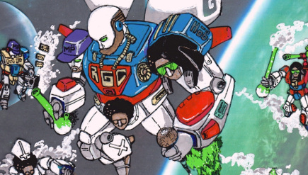 G-Zeus, a robot partially constructed of marijuana, is the mascot of bizarre rap group Rope Goat Clan.