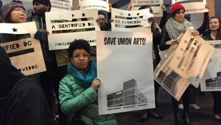 Artists gathered in downtown D.C. Monday night to speak out against the redevelopment of Union Arts, an arts and music facility on New York Avenue NE.