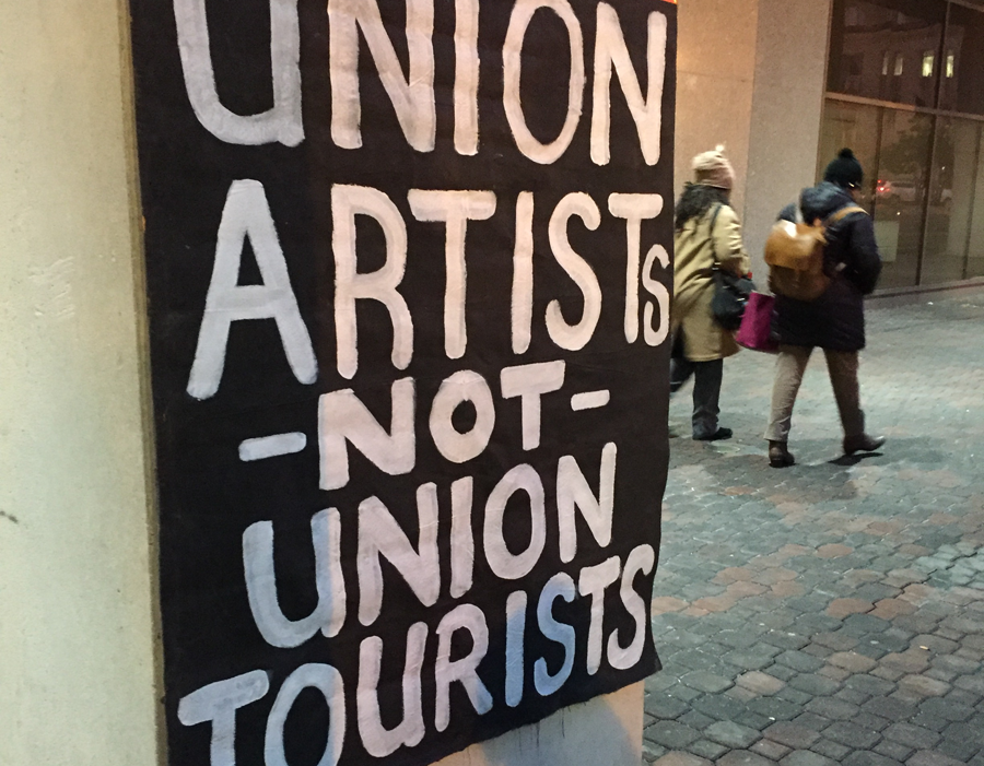 A sign outside Tuesday's zoning hearing, where artists continued protests against plans to transform D.C. arts and music space Union Arts into a hotel.
