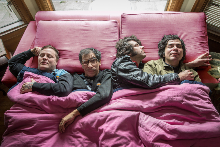 Chicano snuggles: Left to right, Ron Miller, Kid Congo, Kiki Solis and Mark Cisneros.