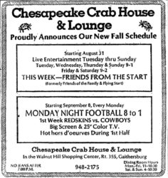 A newspaper ad from September 1980 featuring Friends From the Start's multi-day schedule at Chesapeake Crab House & Lounge in Gaithersburg, Maryland.