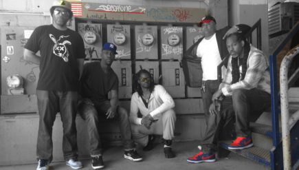 """Fronted by Terence Nicholson (middle, crouching), Thaylobleu delivers lyrically vivid rippers on its debut album, """"Oscars & Jellyfish."""""""