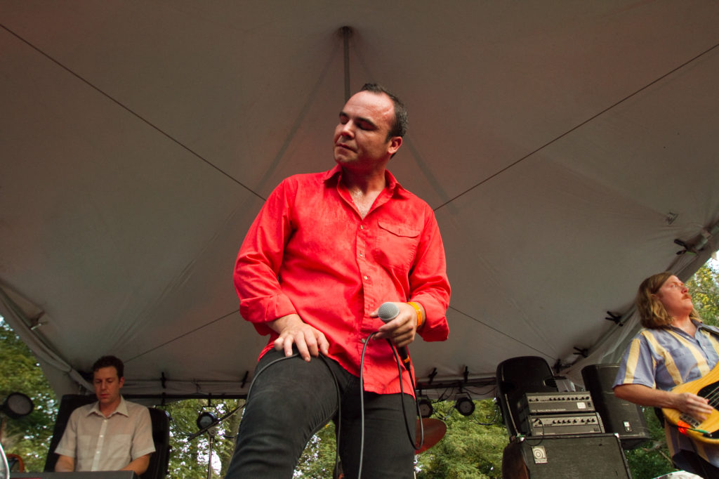 Future Islands performing on the Fields stage Saturday evening