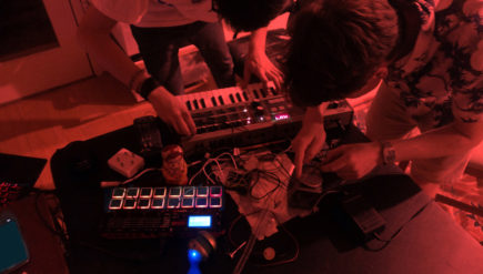 Metal, machines, music: BADTHRVW's setup includes a sampler, a synthesizer and homemade digital noisemakers.