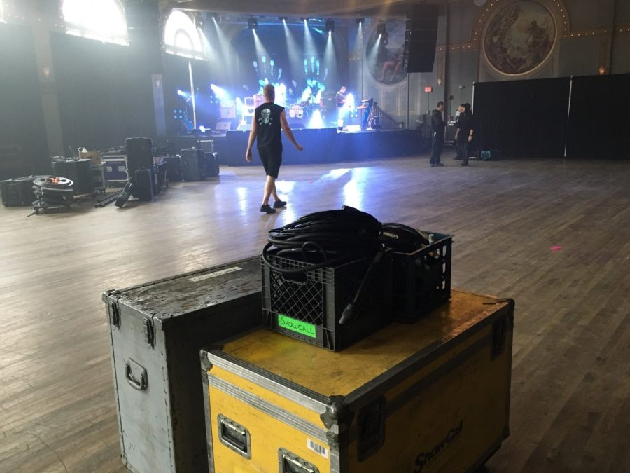 A crew sets up for Icelandic band Kaleo's show at Crystal Ballroom in Portland, Ore.